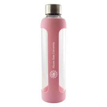 Alcorn State University -Glass Water with Silicone Sleeve-20 oz.-Pink