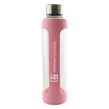 American University -Glass Water with Silicone Sleeve-20 oz.-Pink