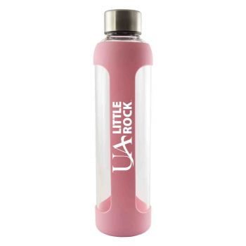 University of Arkansas At Little Rock -Glass Water with Silicone Sleeve-20 oz.-Pink