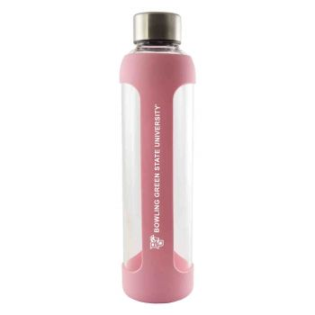 Bowling Green State University -Glass Water with Silicone Sleeve-20 oz.-Pink