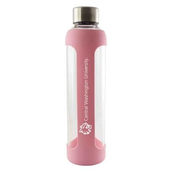 Central Washington University -Glass Water with Silicone Sleeve-20 oz.-Pink