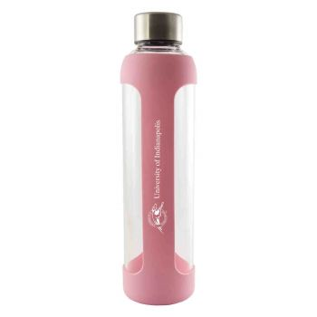University of Indianapolis-Glass Water with Silicone Sleeve-20 oz.-Pink
