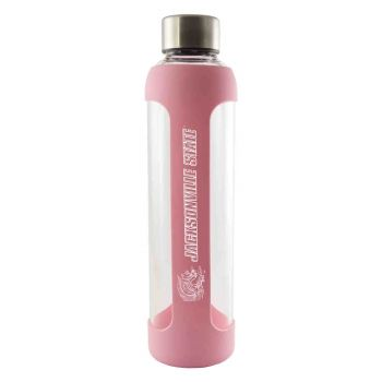 Jacksonville State University-Glass Water with Silicone Sleeve-20 oz.-Pink