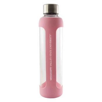 Mississippi Valley State University -Glass Water with Silicone Sleeve-20 oz.-Pink