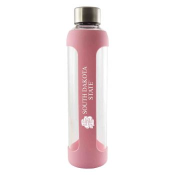 South Dakota State University -Glass Water with Silicone Sleeve-20 oz.-Pink