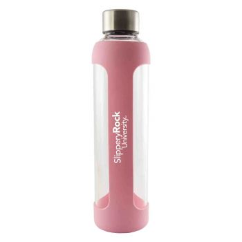 Slippery Rock University -Glass Water with Silicone Sleeve-20 oz.-Pink