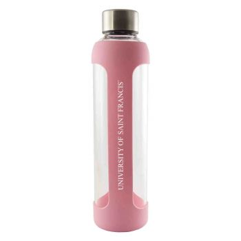 University of Saint Francis-Fort Wayne -Glass Water with Silicone Sleeve-20 oz.-Pink