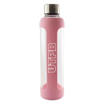 The University of Texas at The Permian Basin-Glass Water with Silicone Sleeve-20 oz.-Pink
