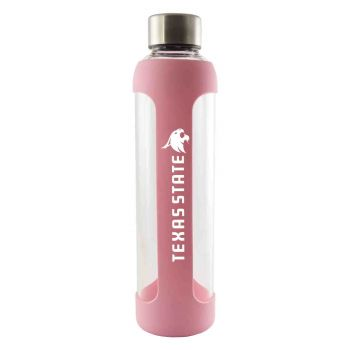 Texas State University -Glass Water with Silicone Sleeve-20 oz.-Pink