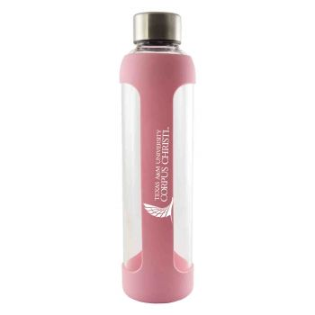 Texas A&M University-Corpus Christi-Glass Water with Silicone Sleeve-20 oz.-Pink