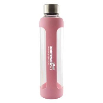 University of Wisconsin-Milwaukee-Glass Water with Silicone Sleeve-20 oz.-Pink