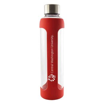Central Washington University -Glass Water with Silicone Sleeve-20 oz.-Red