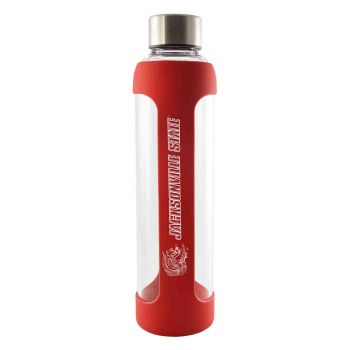 Jacksonville State University-Glass Water with Silicone Sleeve-20 oz.-Red