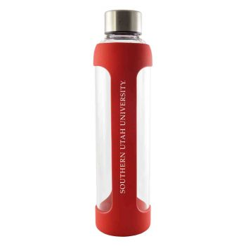 Southern Utah University -Glass Water with Silicone Sleeve-20 oz.-Red