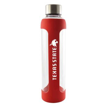 Texas State University -Glass Water with Silicone Sleeve-20 oz.-Red