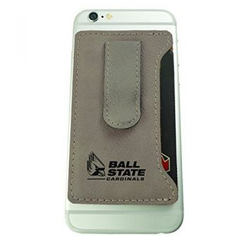 Ball State University -Leatherette Cell Phone Card Holder-Tan