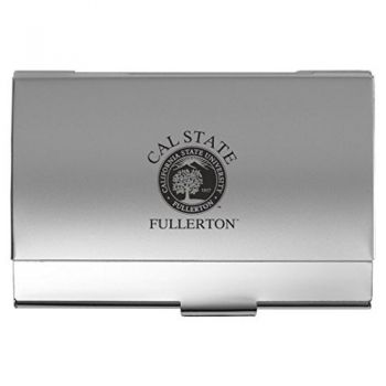 Fullerton College - Two-Tone Business Card Holder - Silver