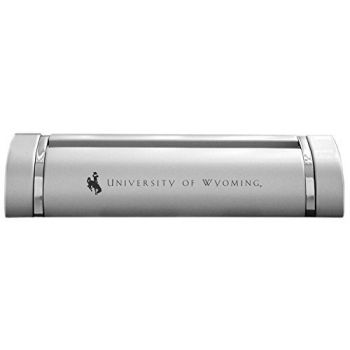 University of Wyoming-Desk Business Card Holder -Silver