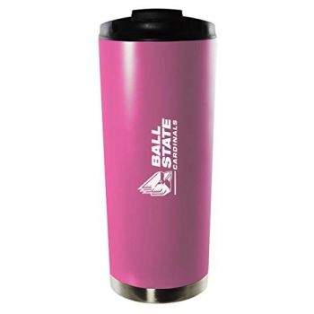 Ball State University-16oz. Stainless Steel Vacuum Insulated Travel Mug Tumbler-Pink