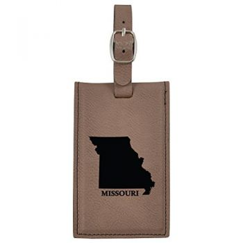 Missouri-State Outline-Leatherette Luggage Tag -Brown