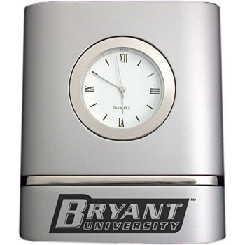 Bryant University- Two-Toned Desk Clock -Silver