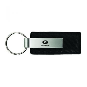 University of Georgia-Carbon Fiber Leather and Metal Key Tag-Black