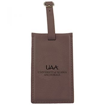 University of Alaska Anchorage -Leatherette Luggage Tag-Brown