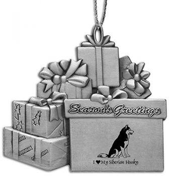 Pewter Gift Display Christmas Tree Ornament  - I Love My Siberian Huskie
