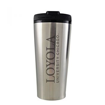 Loyola University Chicago -16 oz. Travel Mug Tumbler-Silver
