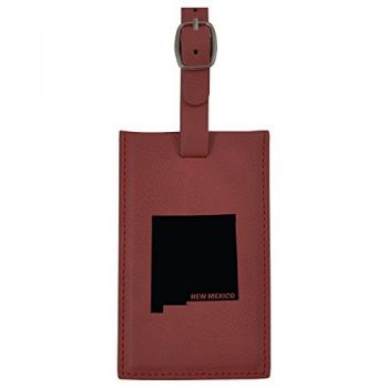 New Mexico-State Outline-Leatherette Luggage Tag -Burgundy