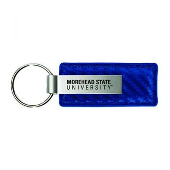 Morehead State University-Carbon Fiber Leather and Metal Key Tag-Blue