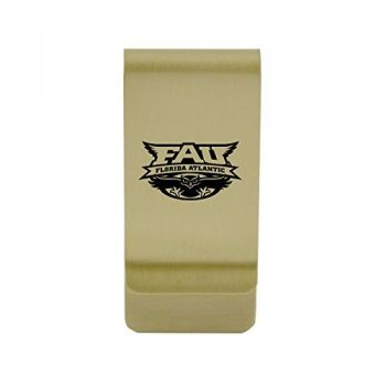 Fairfield University|Money Clip with Contemporary Metals Finish|Solid Brass|High Tension Clip to Securely Hold Cash, Cards and ID's|Silver