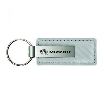 University of Missouri-Carbon Fiber Leather and Metal Key Tag-White