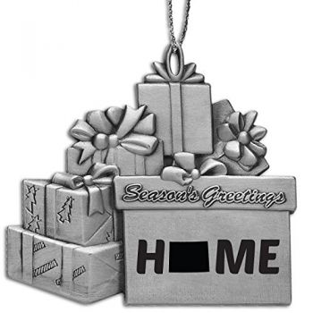 Wyoming-State Outline-Home-Pewter Gift Package Ornament-Silver