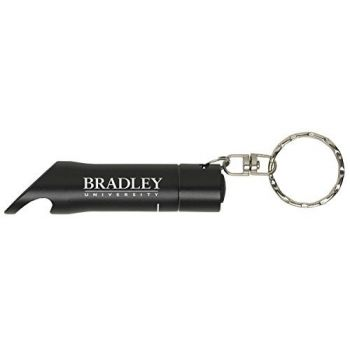 Bradley University - LED Flashlight Bottle Opener Keychain - Black