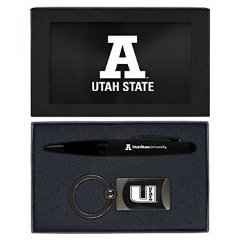 Utah State University -Executive Twist Action Ballpoint Pen Stylus and Gunmetal Key Tag Gift Set-Black