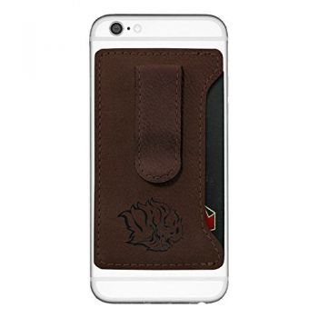 University of Arkansas at Pine Buff -Leatherette Cell Phone Card Holder-Brown
