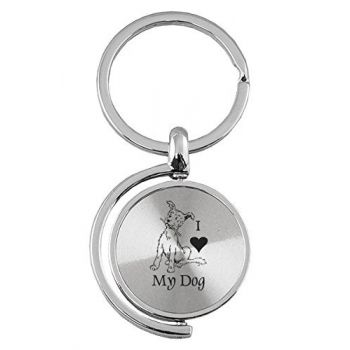 Spinner Round Keychain  - I Love My Dog