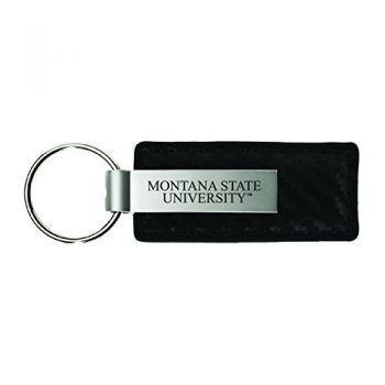 Montana State University-Carbon Fiber Leather and Metal Key Tag-Black