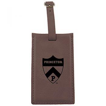 Princeton University -Leatherette Luggage Tag-Brown