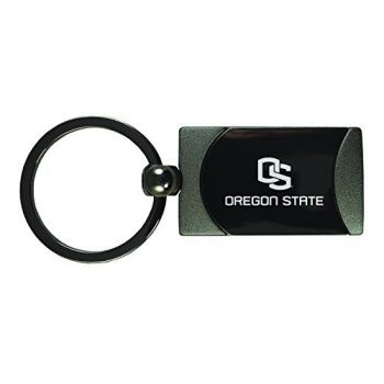 Oregon State University-Carbon Fiber Leather and Metal Key Tag-Black