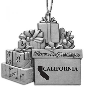 California-State Outline-Pewter Gift Package Ornament-Silver