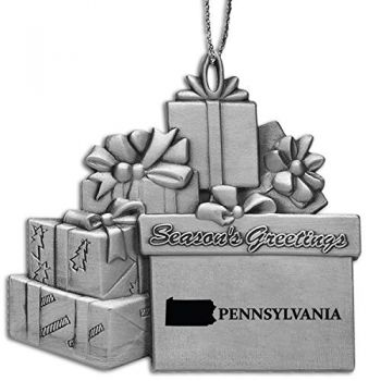 Pennsylvania-State Outline-Pewter Gift Package Ornament-Silver