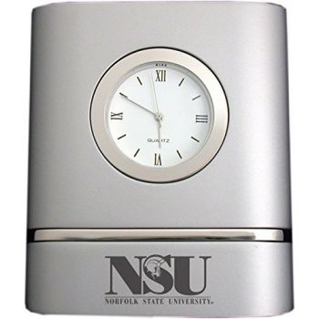 Norfolk State University- Two-Toned Desk Clock -Silver