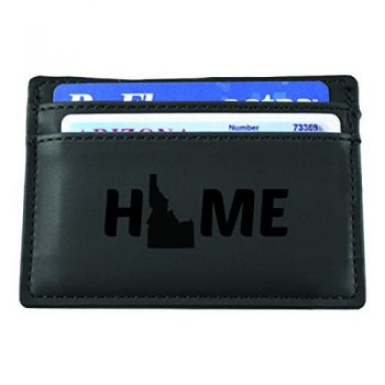 Idaho-State Outline-Home-European Money Clip Wallet-Black