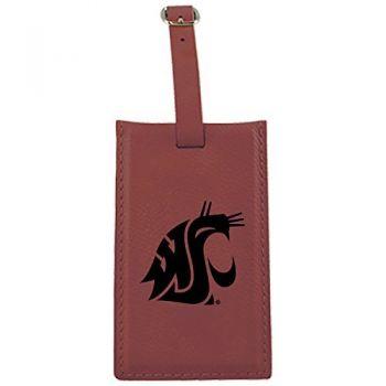 Washington State University -Leatherette Luggage Tag-Burgundy
