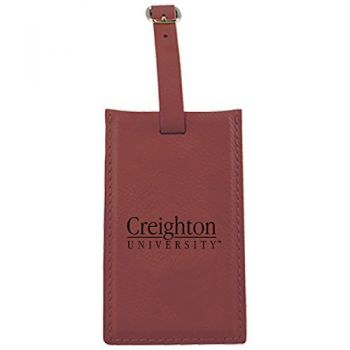 Creighton University -Leatherette Luggage Tag-Burgundy