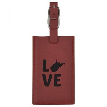 West Virginia-State Outline-Love-Leatherette Luggage Tag -Burgundy