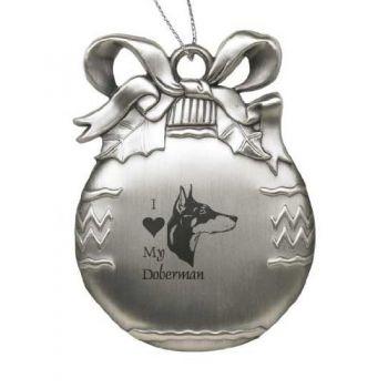 Pewter Christmas Bulb Ornament  - I Love My Doberman Pinscher