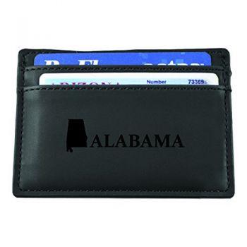 Alabama-State Outline-European Money Clip Wallet-Black